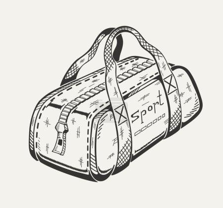 Monochrome illustration of sports bag.