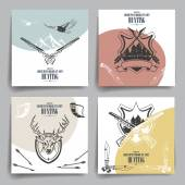 Brochure or flyers design Weapons animals and hunting equipment icons