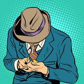 Male smoker pop art retro style A man lights a cigarette Health and bad habits