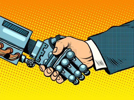 Illustration for Handshake of robot and man. New technologies and evolution pop art retro style. Robotics. Computers and gadgets. E-business. - Royalty Free Image