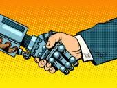Handshake of robot and man New technologies evolution