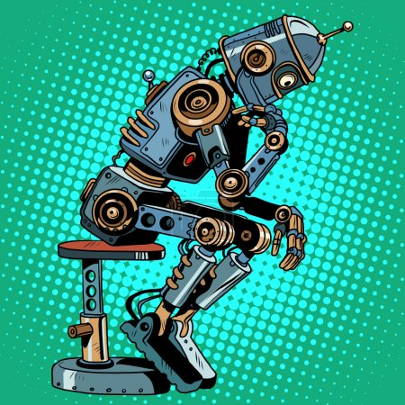 Illustration for Robot thinker artificial intelligence progress pop art retro style. Antique pose. science fiction and the robot character. - Royalty Free Image