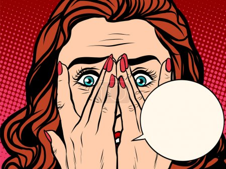 Illustration for Frightened shocked girl pop art retro style. comic book bubble text. The face of a woman emotions - Royalty Free Image