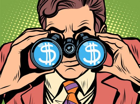 Illustration for Monitoring the currency dollar exchange rate pop art retro style. A man looks through binoculars. The trader on the exchange - Royalty Free Image