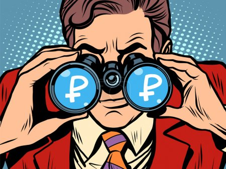 Illustration for Monitoring ruble currency exchange rate pop art retro style. A man looks through binoculars. The trader on the exchange - Royalty Free Image