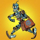 Automatic mailing of the robot pop art retro style business mailing Advertising mailing E-mail Robot mailman