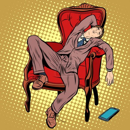 Businessman resting and sleeping in the chair