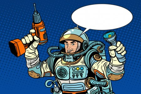 Illustration for Astronaut with a drill and flashlight pop art retro style. Repair equipment - Royalty Free Image