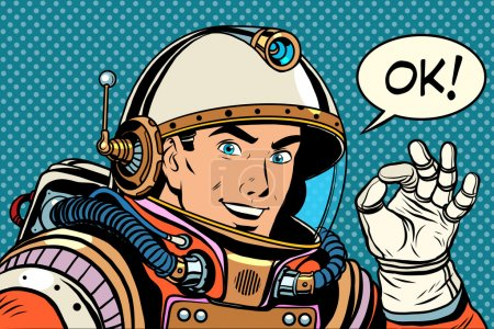 Illustration for OK astronaut man okay gesture well pop art retro style. Okay vector. Retro space good quality - Royalty Free Image