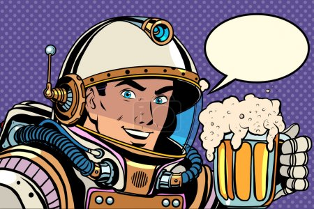 Illustration for Astronaut with a mug of foaming beer pop art retro style. Kvass and beer. Bars, pubs and restaurants - Royalty Free Image