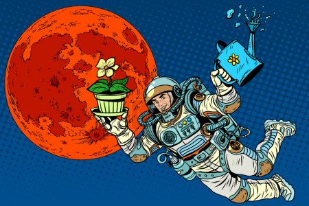 Illustration for Colonization Mars astronaut plants irrigation pop art retro style. Ecology and science. Agriculture and desert. Man astronaut - Royalty Free Image