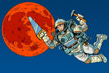 Illustration for Astronaut with tools for building a colony on Mars pop art retro style. Saw and hammer tools. - Royalty Free Image
