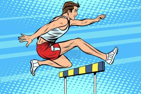 Illustration for Man running hurdles athletics pop art retro style. The athlete jumps the barrier. Treadmill. Summer sports, athletics - Royalty Free Image
