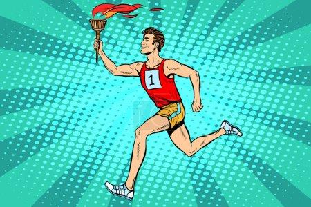 The man athlete torchbearer sports fire summer games