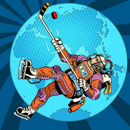 Astronaut plays hockey over planet Earth