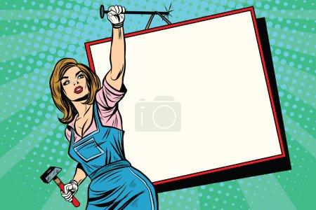 Illustration pour Publicité fille avec affiche pop art style rétro. travailleuse avec un marteau cloué à un panneau d'affichage mural . - image libre de droit