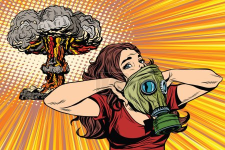 Illustration for Nuclear explosion radiation hazard gas mask girl pop art retro vector. Radiation, biological and chemical hazards. Nuclear war pop art vector - Royalty Free Image