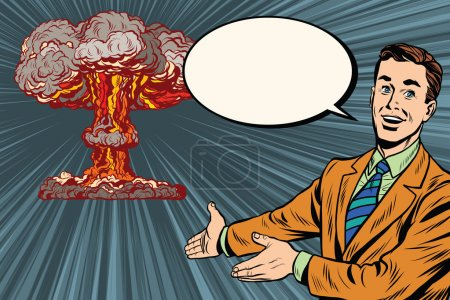 Illustration for Nuclear explosion lecture on radiation safety pop art retro vector. Retro poster nuclear war - Royalty Free Image