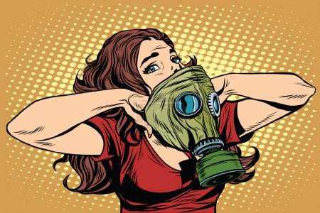 Illustration for Civil defence girl wears a protective mask pop art retro vector. Nuclear war gas attack. Radiation safety. Gas mask vector - Royalty Free Image