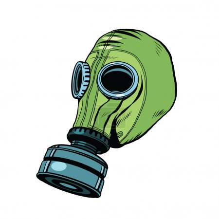 Gas mask, vintage rubber green, White background