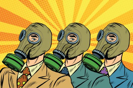 Illustration for People in gas masks the Sots art style pop art retro vector. Pop art ecology air pollution - Royalty Free Image
