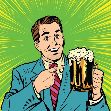 Retro man with a beer pop art