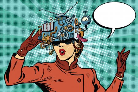 Illustration for Virtual reality glasses retro girl science fiction, pop art vector. Futuristic mechanism of virtual reality - Royalty Free Image
