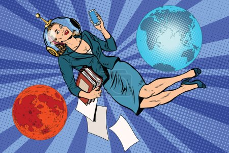 Illustration for Cosmic business woman astronaut pop art retro vector. The future universe earth Mars planet - Royalty Free Image