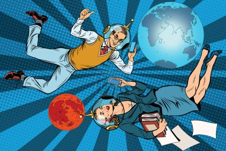 Illustration for Businessman and businesswoman astronauts pop art retro vector. Man and woman at work. Mission to Mars - Royalty Free Image
