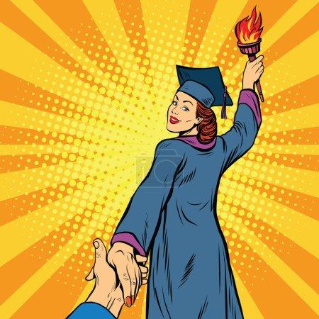 Illustration for Follow me, education university knowledge woman, pop art retro vector illustration. College graduate - Royalty Free Image