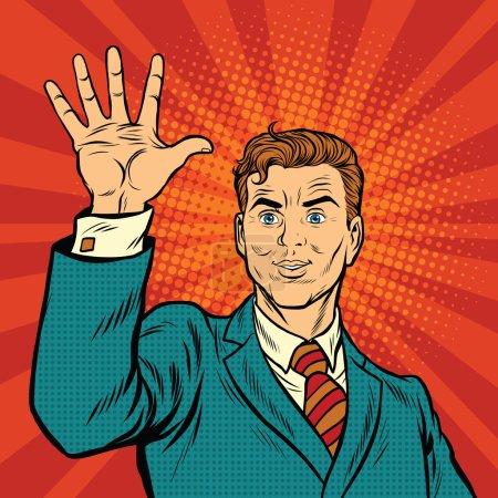 Illustration pour Doigts masculins d'une main montre le numéro cinq, illustration vectorielle rétro pop art - image libre de droit