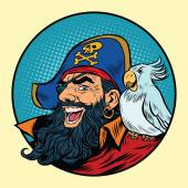 Happy pirate with a parrot on his shoulder pop art retro vector illustration