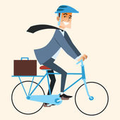 Smiling businessman going to work in the office by bike briefcase in the trunk Sports and work