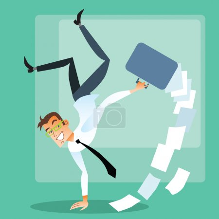 Illustration for Successful deal. Joyful businessman in suit does a handstand - Royalty Free Image