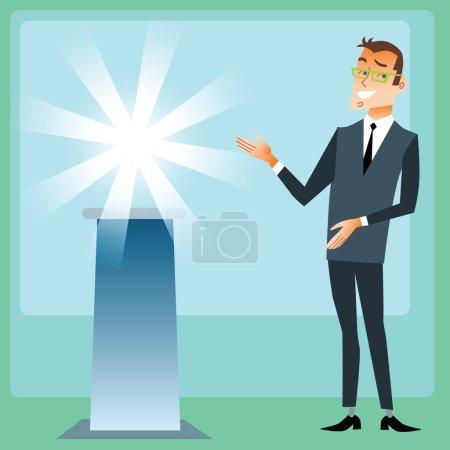 Illustration pour Homme d'affaires sur la présentation de la nouvelle marque - image libre de droit