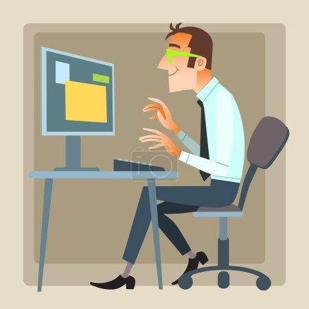 Illustration pour L'homme du bureau qui travaille sur l'ordinateur. Internet et les réseaux sociaux - image libre de droit