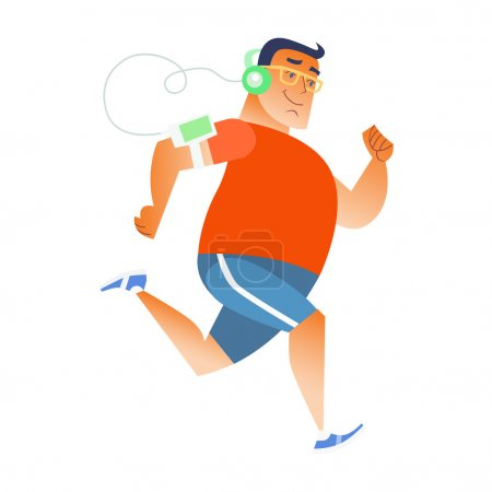 Fat man does running listening music player headphones