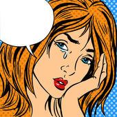 Girl cry Pop art vintage comic