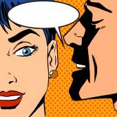 Pop art vintage comic The man whispers to the girl Cloud for the text Gossip and rumors talk about love Retro style