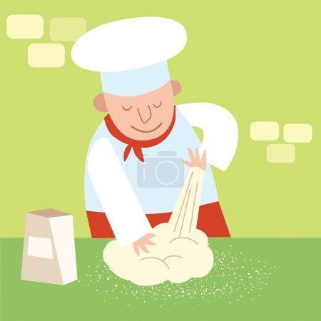 Illustration for Chef of the restaurant in the kitchen kneads dough. Cook in a candy store - Royalty Free Image