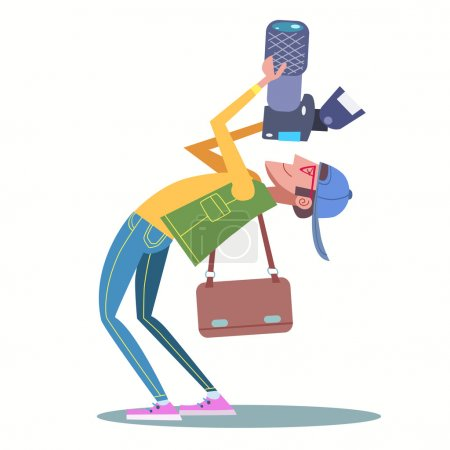 Illustration for The photographer tries to catch a good shot photographs bent. Modern journalist traveler tourist - Royalty Free Image