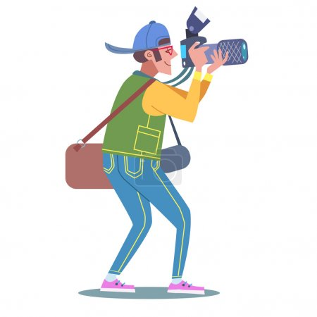 Illustration for Photographer, journalist, reporter at work with the camera. In the hands of a professional camera - Royalty Free Image