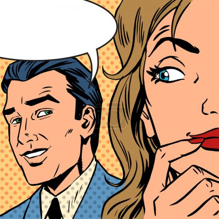 Illustration for Pop art vintage comic. The man calls the woman retro style comic. Cloud for the text. Gossip and rumors talk about love. Retro style - Royalty Free Image