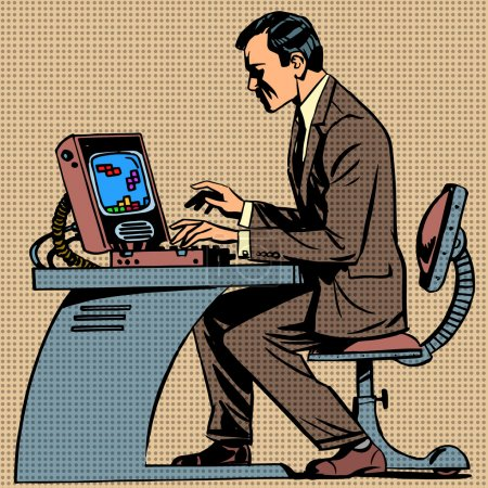 Illustration pour Le vieil homme joue à un jeu d'ordinateur sur ordinateur pop art bandes dessinées style rétro Halftone. Imitation de vieilles illustrations. Gamer employé de bureau - image libre de droit