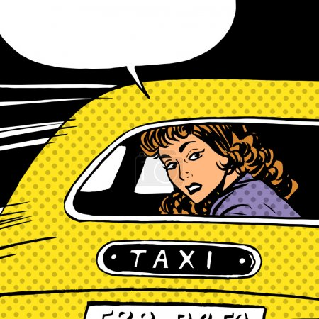 Illustration pour Une femme va au taxi regarde autour de séparation anxiété amour maniaque pop art bandes dessinées style rétro Halftone. Imitation de vieilles illustrations. La fille sur le siège arrière de la voiture regardant à travers la vitre - image libre de droit