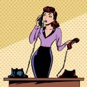 Girl Secretary answers the phone progress and communication tech