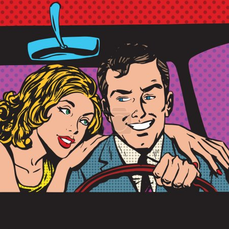 Illustration for Man and woman in the car family pop art comics retro style Halftone. Imitation of old illustrations. Imitation vintage illustrations. Buy transport - Royalty Free Image