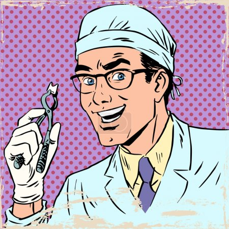 Funny dentist pulled out a tooth pop art retro comic