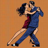 a man and a woman kiss dance tango music couple pop art