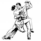 Man and woman dancing couple tango retro line art